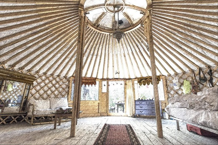 drawing of the inside of the yurt